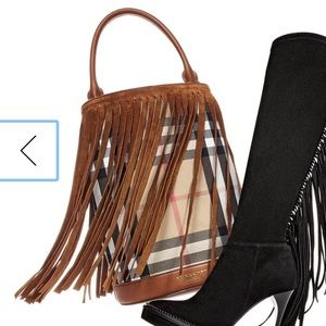 Burberry Prorsum Suede Fringe Check Bucket Bag